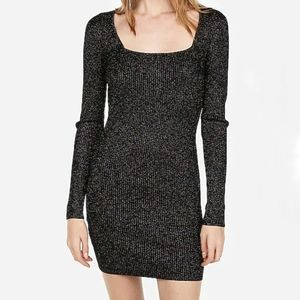 New Express Metallic Knit Mini Dress Size M NWT